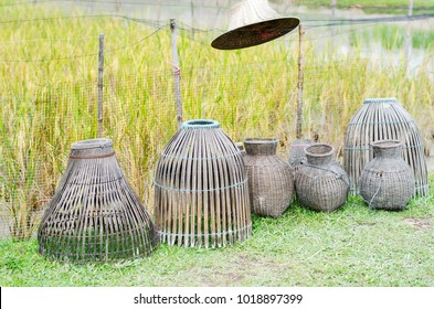 Group of fish bamboo trap in Thai style at the earthen dyke of rice field.