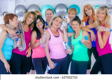 group of fit healthy women after exercising