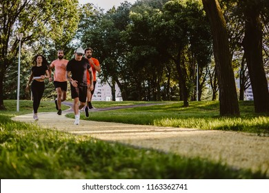 Group of fit people running in the park