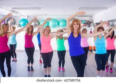 group fitness class, women training