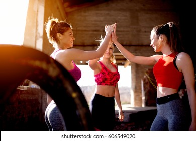 Group fitness females training clapping hands together friends success. Strong woman concept celebrating.
