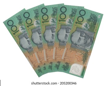 Group of five 100 Australian dollar notes over white background
