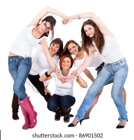 Group of five beautiful and cheerful young woman