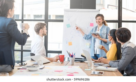 5人のクリエイティブワーカーがオフィスでブレインストームを行い、ジュニアオフィサーがアイデアを発表