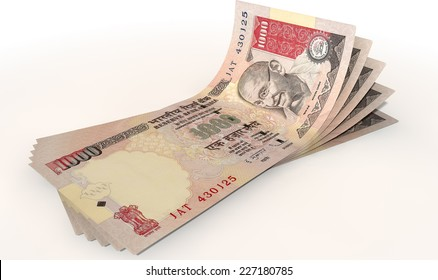 A group of five indian rupee banknotes fanned out and curved on an isolated white background