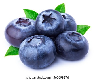 Group of five perfectly retouched blueberries with leaves isolated on white with clipping path. One of the best isolated blueberries you have seen.