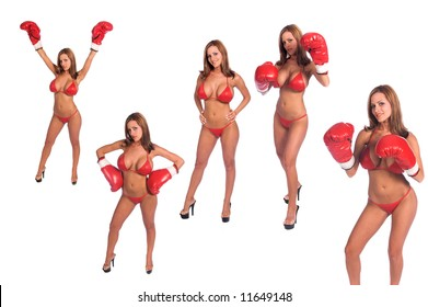 Group of five sexy bikini boxers in red