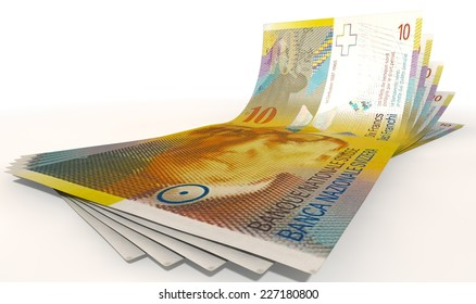 A group of five swiss franc banknotes fanned out and curved on an isolated white background