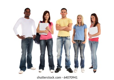 A group of five young people. All on white background.