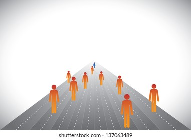 Group of followers & leader or employees & manager- concept graphic. This illustration can represent executives on career path with some winners or CEO,president,chairman leading a company, etc