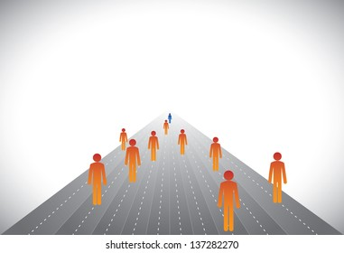 Group of followers & leader or employees & manager- concept vector. This graphic illustration can represent executives on career path with some winners or CEO,president,chairman leading a company, etc