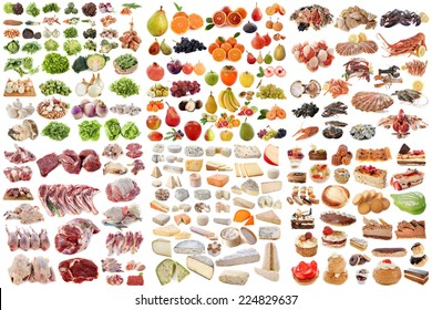 group of food in front of white background