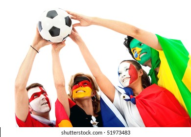 Group of football fans holding a soccer ball with their faces painted - Isolated over white