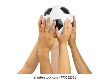 Group of football fans holding a soccer ball with white background