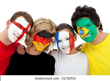 Group of football fans looking happy with their faces painted - Isolated over white