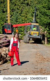 Group of forestry workers on station of logging timber. Young woman in the foreground