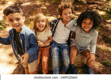 Group of four kids sitting on a wooden log and having fun. Multi-ethnic group of kids playing in a park.