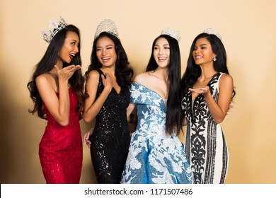 Group of Four Miss Beauty Pageant Queen Contest in Asian Evening Ball Gown sequin dress with Diamond Crown Sash, multi national race world beauty contest, chit chat talk smile laugh for winner