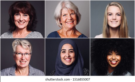 Group of four Multiracial power women together
