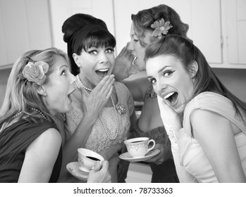 Group of four retro fashion housewives tell secrets in the kitchen