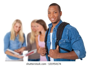 Group of four students. All on white background.