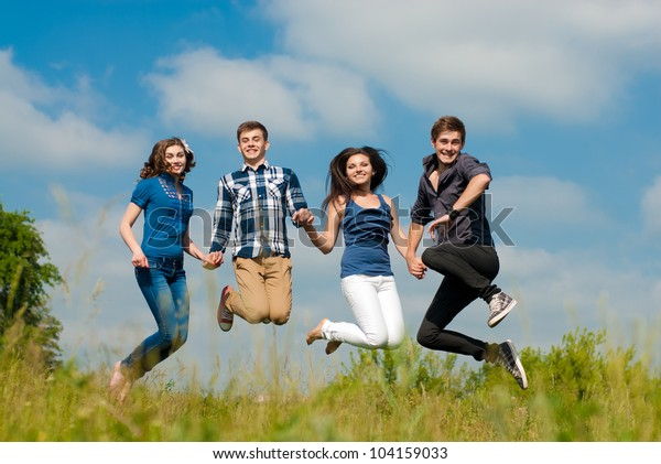 Group Four Young People Two Girls Stock Photo Edit Now 104159033