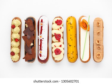 Group of french dessert Eclair on white background