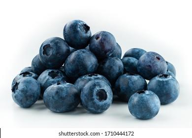 Group of fresh blueberries isolated on white background . full depth of field
