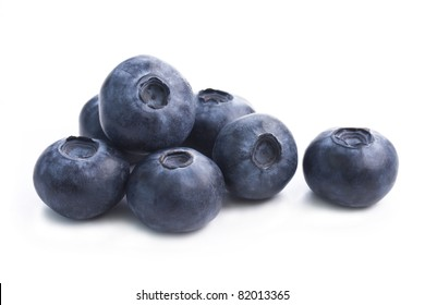 Group of fresh blueberries isolated on white background.