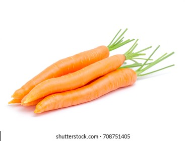 Group of fresh carrots isolated on white background