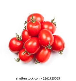 Group of fresh cherry tomatoes isolated on white background