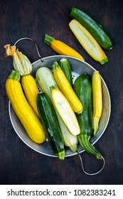 A group of fresh colorful zucchini in a druish