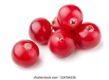 Group of fresh cranberries isolated on white