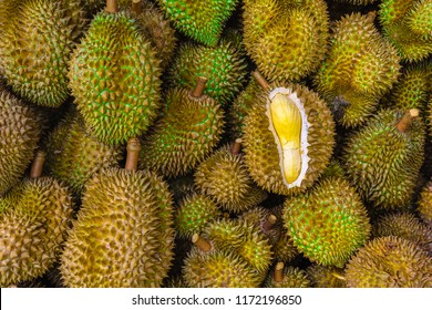 Group of fresh durians in the durian market.