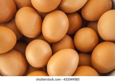 Group of fresh eggs reddish yellow, chicken eggs in thailand