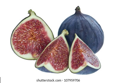 Group of fresh figs isolated on white background