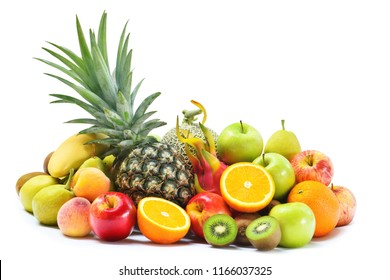 Group of fresh fruits and vegetables isolated on white background, Tropical fruits for eating healthy and dieting