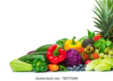 Group of fresh fruits and vegetables isolated on white background