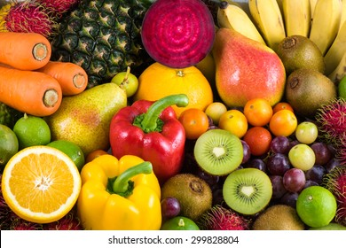 Group of fresh fruits and vegetables organics for healthy