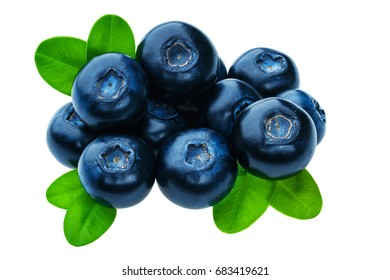 Group of fresh juicy blueberries isolated