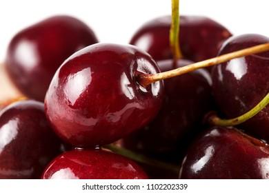 Group of fresh red cherry, closeup, macro