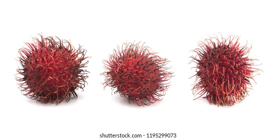 A Group of Fresh Red Rambutan Isolated on a White Background