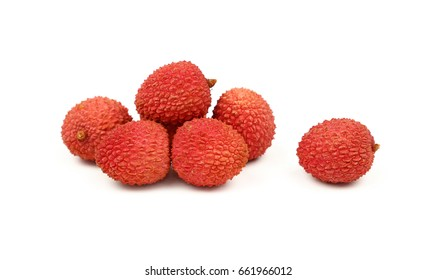 Group of fresh red ripe litchee (Litchi chinensis) tropical fruits isolated on white background, detail close up in different perspectives, low angle view