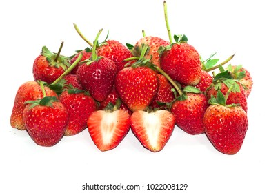 Group Fresh Red Strawberry and slice a half on white background