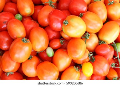Group of fresh red tomatoes for sale at market stall