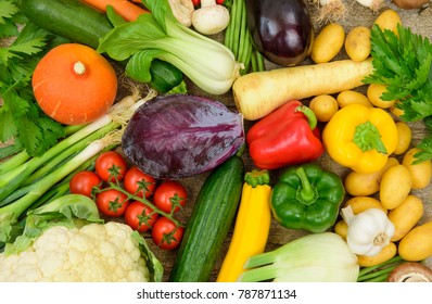 group of fresh vegetable fruits as healthy food