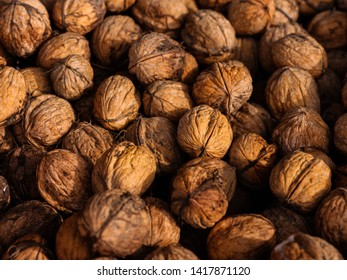 A group of fresh wallnuts, natural food texture background, selective focus