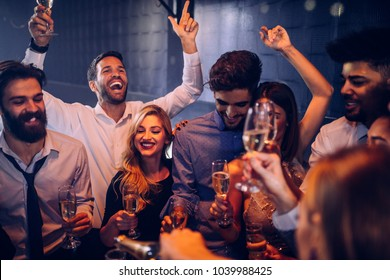 Group of friend having fun at the nightclub