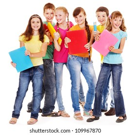 Group of friend teen school child with book.  Isolated.