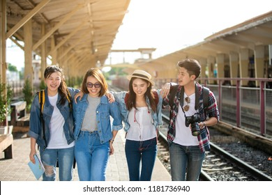 Group of friend traveler on the train ,Travel lifestyle and seasonal vacation concept.